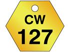 Custom hexagonal brass valve tag black lettering