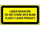 Laser radiation do not stare into the beam, class 2 laser equipment warning safety label.
