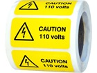 Caution 110 volts label.