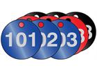 Coloured aluminium valve tags, numbered 101-125