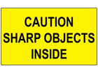 Caution sharp objects inside labels
