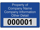 Assetmark+ serial number label (text on colour), 32mm x 50mm