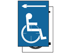 Disabled wheelchair symbol, arrow left sign.
