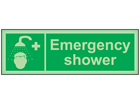 Emergency shower photoluminescent safety sign