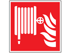 Fire hose reel symbol safety sign.