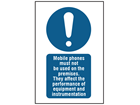 Mobile phones must not be used on the premises symbol and text safety sign.