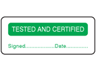 Tested and certified label