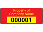 Assetmark serial number label (text on colour), 19mm x 50mm
