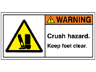 Warning crush hazard keep feet clear label