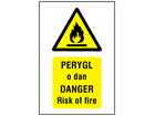 Perygl o dan, Danger Risk of fire. Welsh English sign.