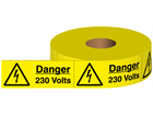 Danger 230 volts electrical warning tape