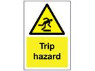 Trip hazard symbol and text sign