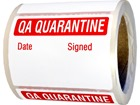 Jumbo QA Quarantine Label - 250 pack