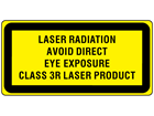 Laser radiation avoid direct eye exposure, class 3R laser equipment warning safety label.