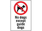 No dogs except guide dogs information sign