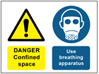 Danger confined space, use breathing apparatus safety sign.
