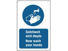 Golchwch eich dwylo, Now wash your hands. Welsh English sign.