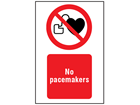 No pacemakers symbol and text safety sign.