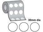 Thermal transfer labels, self adhesive paper, 30mm diameter.