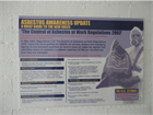 Control of asbestos at work regulations safety poster.