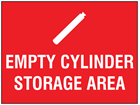 Empty cylinder storage area symbol and text sign.