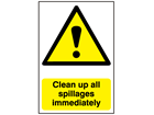 Clean up all spillages immediately warning sign.