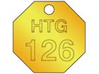Custom octagonal brass valve tag natural lettering