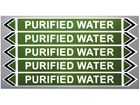 Purified water flow marker label.