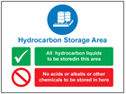 Hydrocarbon storage area sign.