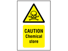 Caution chemical store symbol and text safety sign.