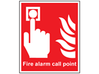 Fire alarm call point symbol and text safety sign.