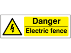 Danger electric fence warning safety sign.