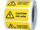 Caution 240 volts label.