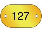 Serial Numbered Metal Nameplates, Brass 25mm x 45mm