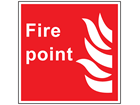 Fire point symbol and text safety sign.