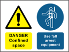Danger confined space, use fall arrest safety sign.