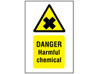 Danger harmful chemical symbol and text safety sign.