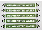 Chlorinated water flow marker label.