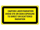 Caution laser radiation avoid eye or skin exposure to direct or scattered radiation, laser equipment warning label.