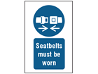 Use seat belt symbol and text safety sign.