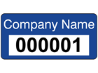 Assetmark serial number label (text on colour), 12mm x 25mm