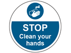 Stop, clean your hands symbol and text floor graphic marker.