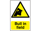 Bull in field warning sign.