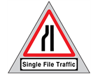Single file traffic (offside) road sign