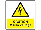 Caution mains voltage symbol and text safety label.