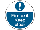 Fire exit keep clear symbol and text floor graphic marker.