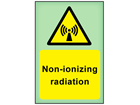 Non-ionizing radiation photoluminescent safety sign