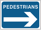 Pedestrian, arrow right temporary road sign.