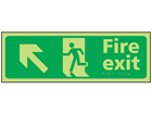 Fire exit arrow up left photoluminescent sign.