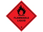 Flammable liquid, class 3, hazard diamond label